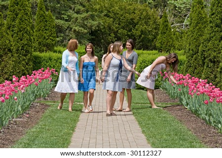 Group of Girls in the Park - stock photo