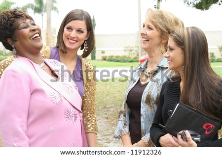 group of girls laughing - stock photo