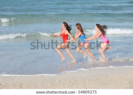 group of girls on summer break vacations - stock photo