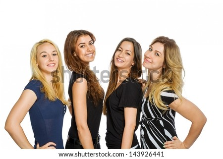 Group of girls standing isolated on white - stock photo