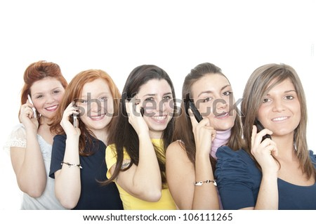 Group of girls with telephones