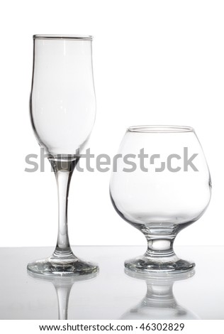 group of glasses isolated on white - stock photo