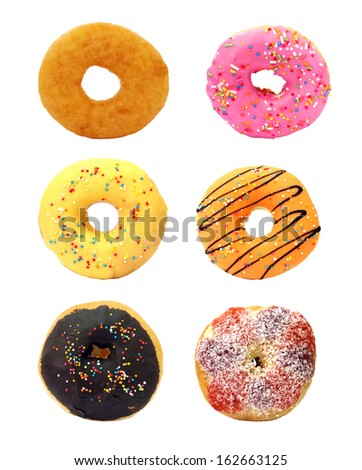 Group of glazed donuts, isolated on white background - stock photo