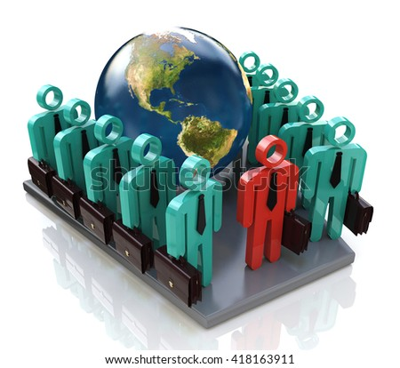 Group of global business people goes forward and Leader in the design of information related to business. 3d illustration - stock photo
