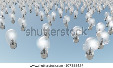 Group of glowing  human head lightbulbs - stock photo