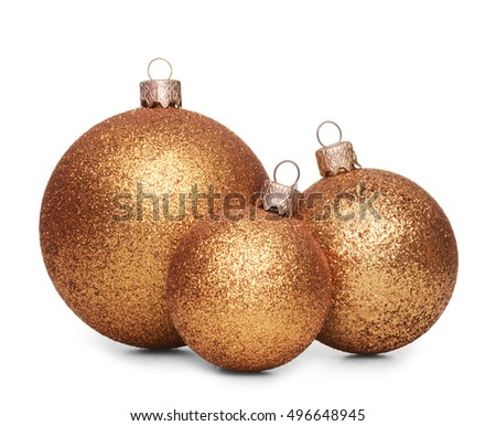 Group of gold christmas balls isolated on white background