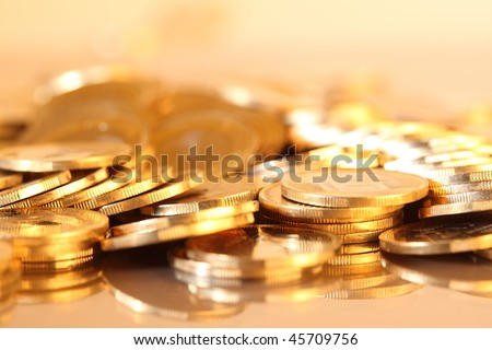 Group of gold coins business money - stock photo