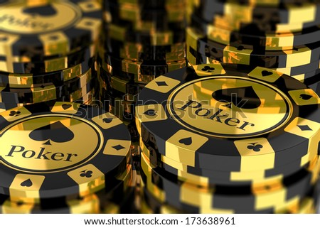 Group of gold poker chips - stock photo