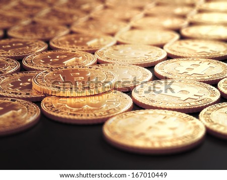 Group of golden Bitcoin coins arranged in a grid - stock photo
