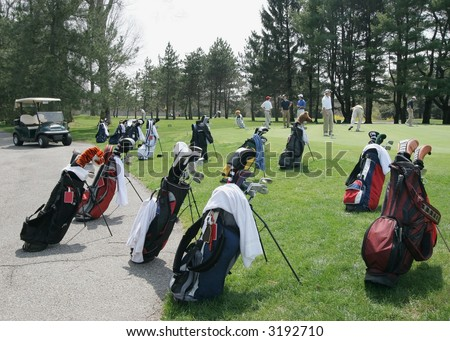 group of golf bags - stock photo