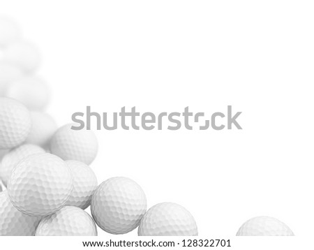 Group of golf balls on white background. 3D render. - stock photo