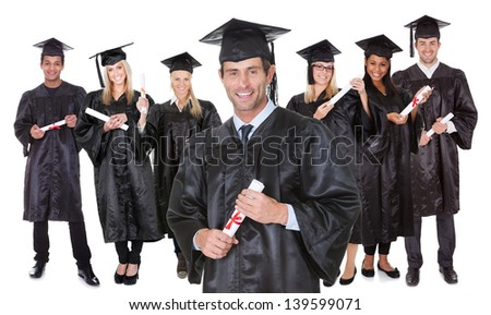 Group of graduate students. Isolated on white - stock photo