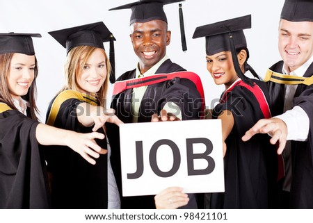 group of graduates grab job - stock photo
