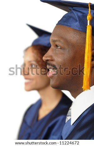 Group of graduates looking toward the future; isolated on white - stock photo