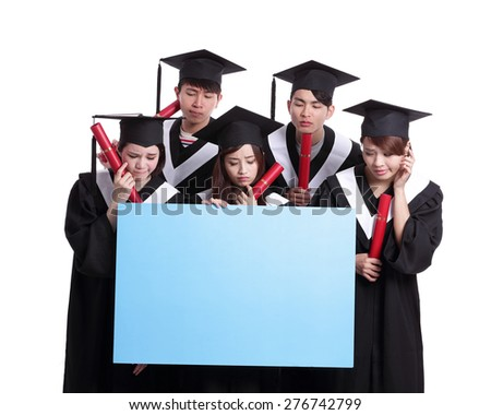 group of graduates student think their future and show blank billboard isolated on white background, asian - stock photo