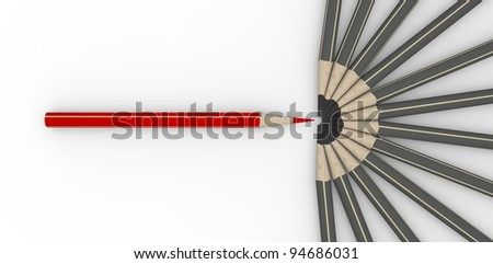 Group of gray pencils with a red one pencil in opposite - stock photo