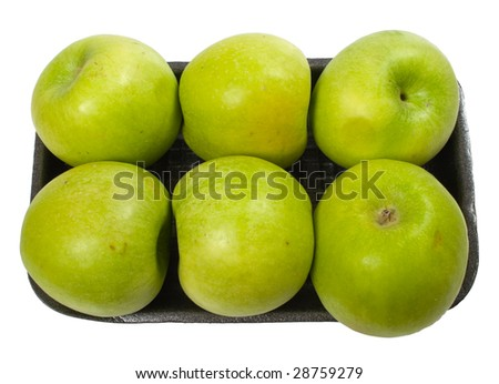 group of green apples on the plate  isolated over white with clipping path