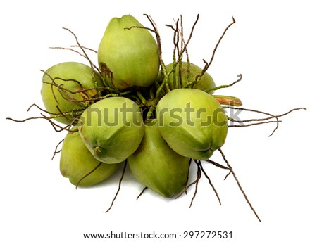 Group of green coconuts - stock photo