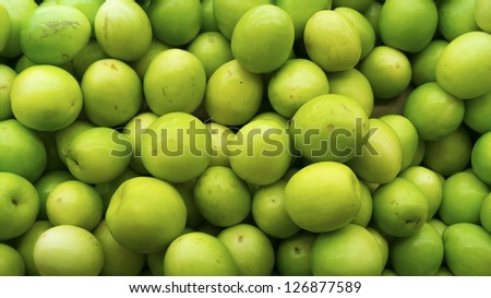 Group of green jujubes