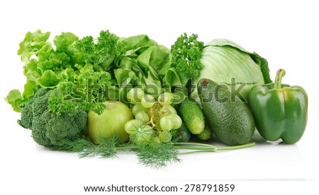 Group of green vegetables and fruits on white background - stock photo