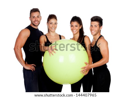 Group of gym people isolated of a white background - stock photo
