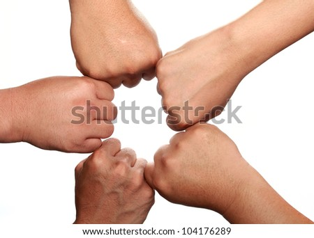 Group of hand and fist - stock photo