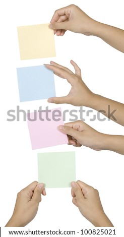 Group of hand hold color note. You can put your message on the paper