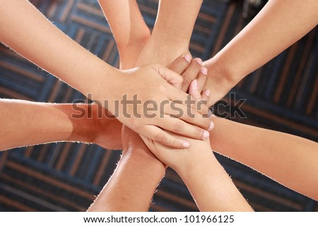 Group of hands, family love, support, help, charity - stock photo