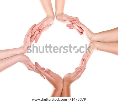 Group of hands forming a circle isolated on white background - stock photo