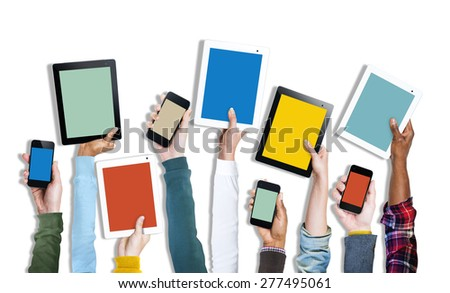 Group of Hands Holding Digital Devices - stock photo