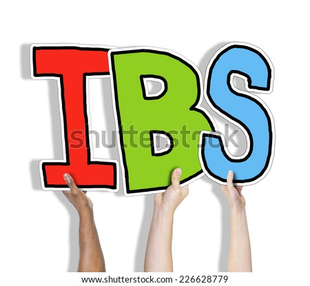 Group of Hands Holding IBS Letter - stock photo