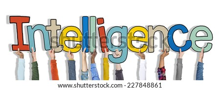 Group of Hands Holding Intelligence Word Concept - stock photo