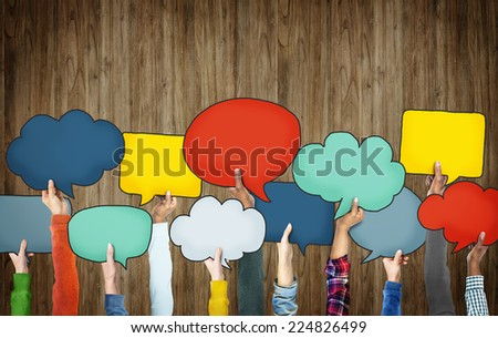Group of Hands Holding Speech Bubbles - stock photo