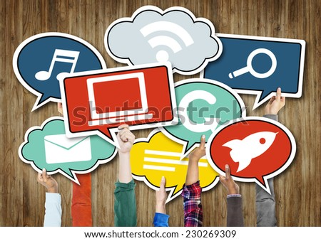 Group of Hands Holding Speech Bubbles with Symbols - stock photo