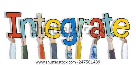 Group of Hands Holding Word Integrate - stock photo