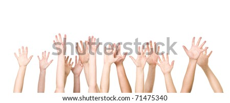 Group of Hands in the air isolated on white background - stock photo