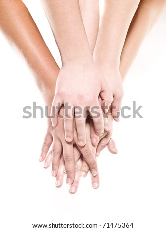 Group of hands isolated on a white background - stock photo