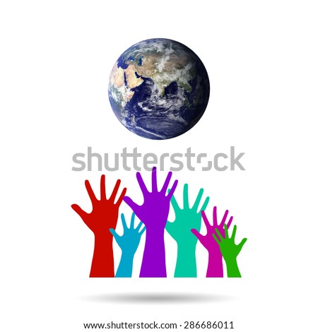 Group of Hands United as One for Global Environmental Preservation.Environment concept. Elements of this image furnished by NASA. - stock photo