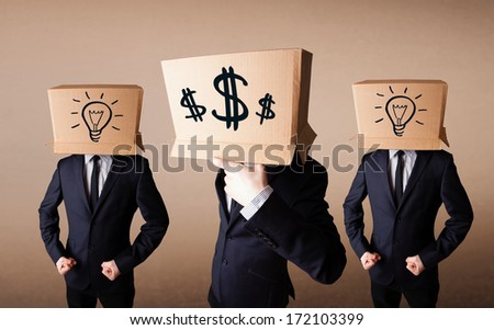 Group of handsome people gesturing with sketched dollar signs on box - stock photo