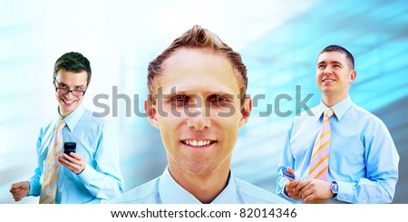 Group of happiness businessmans  on the white background - stock photo