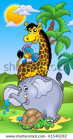 Group of happy African animals - color illustration. - stock photo