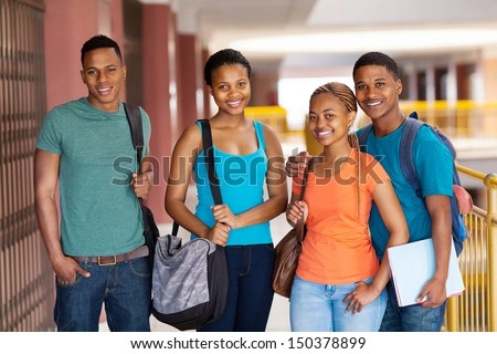group of happy african college friends on campus - stock photo