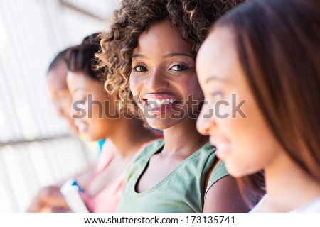group of happy african university students closeup - stock photo