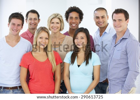 Group Of Happy And Positive Business People In Casual Dress - stock photo