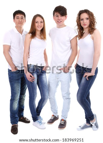 Group of happy beautiful young people isolated on white