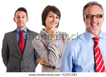 Group of happy business people. Focus on the woman. - stock photo