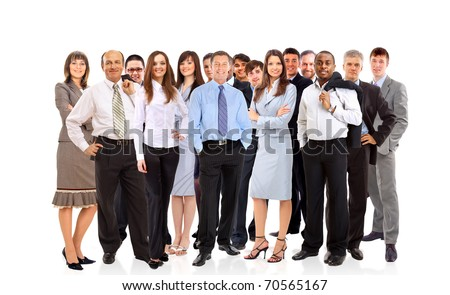 Group of happy business people,isolated - stock photo