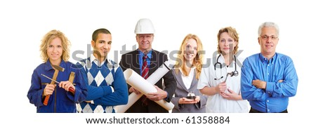 Group of happy business people with different occupations - stock photo