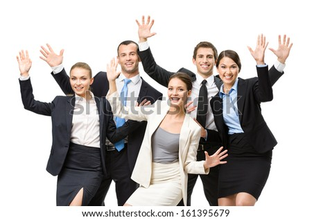 Group of happy business people with hands up, isolated. Concept of teamwork and cooperation - stock photo