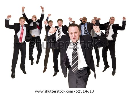Group of happy businessmen isolated on white background
